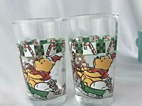 "SET OF 2 DISNEY ""100 ACRE HOLIDAY"" WINNIE THE POOH TIGGER GLASS HOLIDAY Glasses"