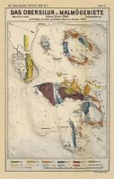 MAP ANTIQUE 1906 KIAER SILURIAN GEOLOGY MALMO LARGE REPLICA POSTER PRINT PAM0425