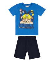 Boys Kids Official Paw Patrol Light Blue Chase Short Sleeve Summer Pyjamas PJs