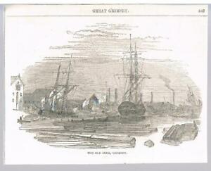 DOUBLE SIDED PRINT OLD DOCK GRIMSBY & PIER AT HULL - NEW HOLLAND C1860