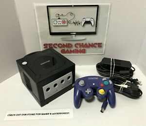Nintendo GameCube Black Console System Bundle w/Purple Controller-DOL-001-Tested