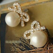 1 Pair Girl Bow Small Round Pearl Rhinestone Women Stud Earrings Gift