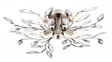 MODERN WILLOW FLUSH 4 LIGHT SATIN STEEL LEAF DESIGN CEILING FITTING CHANDELIER