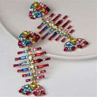 Fashion Colorful Fish Bones Zircon Earrings Dangle Wedding AAA Earbob Women