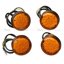 4x20 LED Amber Round Motorcycle ATV Bike Turn Signals Indicator Light Orange 12V