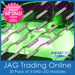 PACK 12V 60-SMD GREEN LED BOAT/FISHING/CARAVAN/RV WATERPROOF LIGHTS-20 MODULES G