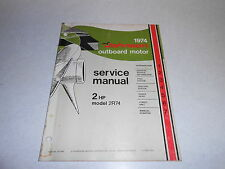 1974 2hp Johnson Outboard Motor Repair & Service Manual Evinrude 2 hp