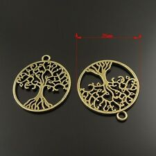 38027 Vintage Bronze Alloy Hollow Tree Round Pendants Charms Craft Findings 6pcs