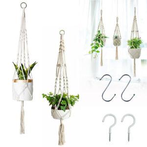 2x Garden Plant Hanger Macrame Hanging Planter Basket Rope Pot Holder Decor Hook
