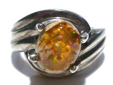 ANTIQUE OLD ESTATE STERLING SILVER CANTERA FIRE JELLY OPAL ESTATE UNISEX RING