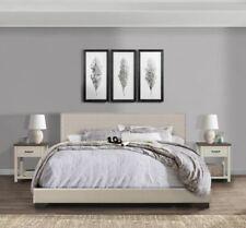 King Size Bed Frame Upholstered Headboard Bedroom Furniture Gray Griege Beige