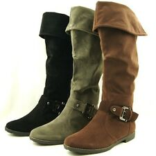 Women's Flat Knee High / Over the Knee Cuffed Riding Boots, 5US-10US