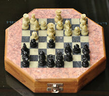 "INDIAN 6""  Wood & Soapstone Octagon Chess Set  INDIA Hand Carved Unique Gift New"