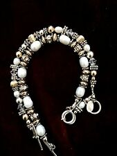 Two Sterling Silver Bracelets With Cultured White Pearls
