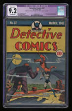 Detective Comics #37 CGC 9.2 OW Pgs Restored Highest Graded Last Solo Batman