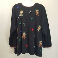 Liz Me 5X Sweater Black Reindeer Christmas Holiday Embroidered Made in India
