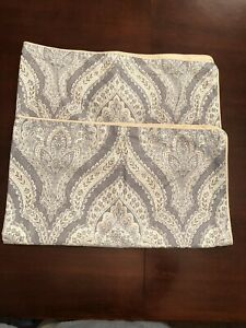 2 Biltmore King Size Cotton Pillow Shams ~ Zip Close ~ Silver Blue Gray ~ EUC!