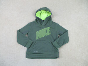 Nike Sweater Youth 3T Toddler Green Black Swoosh Hooded Pullover Kids Boys