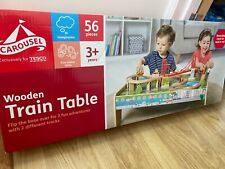NEW Carousel Wooden Train Table with 56 Piece Train Set new