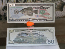 Silver Banknotes 50.00 Crappie Federal Currency Money Notes Reserve Fishing Us