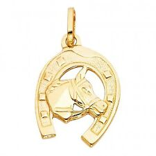 14K Solid Yellow Solid Gold Lucky Horseshoe Pendant