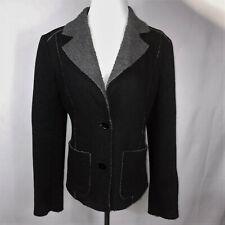 Vintage CHAIKEN Black + Gray Faux Fleece Trim Fitted Jacket Coat Size 6 $785
