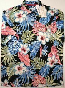 NEW $140 Tommy Bahama Short Sleeve Silk Shirt Floral Konkan Jungle Black Stretch