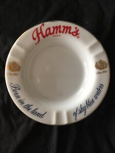 """Vintage Hamm's Beer Porcelain Ashtray """"Born In The Land of Sky Blue Waters"""""""