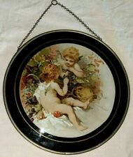 Gorgeous Antique Flu Cover Doves Cherubs & Grapes Fruits Excellent Condition