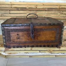 Antique Indian ornate carved teak dowry/jewellery box