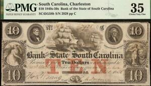 1850 $10 DOLLAR BILL SOUTH CAROLINA BANK NOTE LARGE CURRENCY PAPER MONEY PMG 35