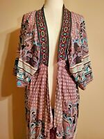 FLYING TOMATO Anthropologie women's kimono duster size X/S short sleeves pretty