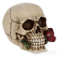RED ROSE FROM THE DEAD SKULL FIGURINE FANTASY ORNAMENT GOTHIC HORROR 15CM