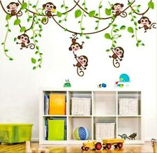 Vines Monkey Jungle Wall Decals Stickers Mural Childs Bedroom Nursery Easy 2 Use