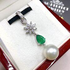 South Sea Pearl Emerald VS Diamond 18K solid white gold pendant necklace Natural
