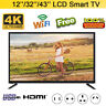 12''/32''/43'' HD LCD Protable Digital TV WIFI 2K/4K 1080P USB HDMI RF Antenna