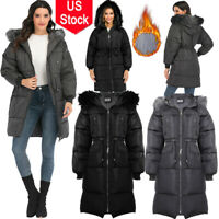 US Womens Long Puffer Hooded Coat Button Front Puffer Down Jacket Outwear Winter