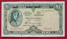 Central Bank of Ireland, £1 One Pound Note,1972, Prefix 97J4, Lady Lavery
