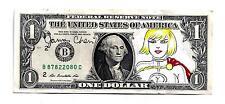 POWER GIRL ORIGINAL COMIC ART ON A DOLLAR BILL BY COMIC ARTIST JAMES CHEN