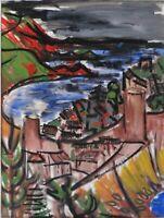 """André TELLIER  - """"""""le port de Ramatuelle""""  gouache vers 1950/60"""