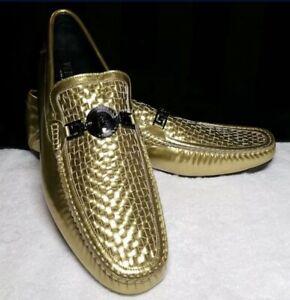 Genuine Gianni Versace Men's Golden Leather Loafers Size 11 (IT 45) RARE Italia