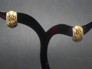 Ohrringe earrings 750 GOLD 18 Karat boucle Bicolor Kreolen Creolen Ohrhänger