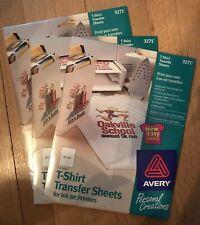 "T-Shirt Transfers Iron On Avery InkJet White 6 Sheets 3271 8-1/2x11"" sealed 3 pk"