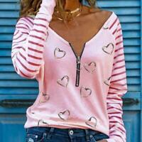 Neues Damen Langarm-T-Shirt Liebesdruck V-Ausschnit Herbst Outfit L0W0
