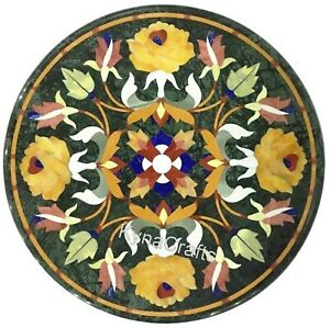 14 Inches Marble Coffee Table Top Multi Color Stone Inlaid Work Corner Table