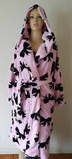 Dreams & Co Women's Fleece Plush Robe Hooded 1X 22W-24W Pink Bows