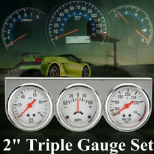 """2"""" Chrome Panel Oil Pressure Water Temp Temperature Amp Meter Triple Gauge Set"""