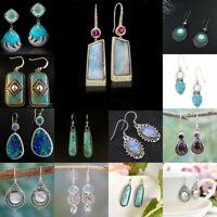 Women 925 Silver Earrings White Opal Turquoise Hook Dangle Wedding Party Jewelry