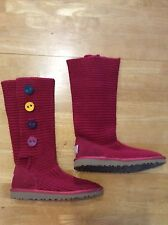 UGG AUSTRALIA Red Sweater Suede BOOTS Sheep Fur footbed multi-color buttons 7 ?