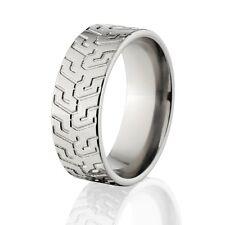 Custom Titanium Tire Tread Rings,  Rugged Men's Rings